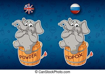 Nervous, sitting on a powder keg. Elephant. Lit the wick. Big set of stickers in English and Russian languages. Vector, cartoon