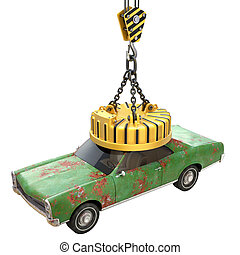 Lifting electro magnet with old car - 3D illustration