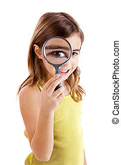 Looking through a magnifying glass - Beautiful little girl...