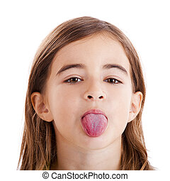 Girl with tongue out - Portrait of a beautiful girl with her...