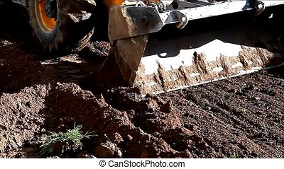 Earthmover in action on construction site