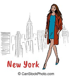 Woman walking in NY - Woman walking in New York, USA....