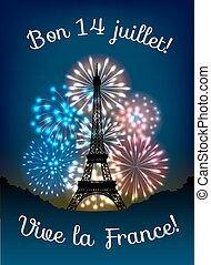 Bastille day fireworks in colors of french flag and...