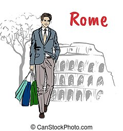 woman in Rome - Fashion sketch of beautiful man with...