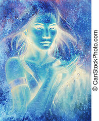 Goddess woman and abstract background.. Painting and graphic...