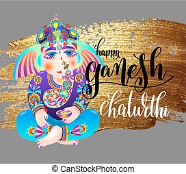 happy ganesh chaturthi indian festival design poster with...