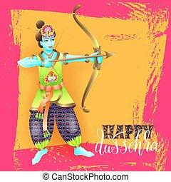 krishna,  dussehra, Deus, Saudação, desenho, cartão, Feliz