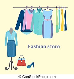 Clothing store Boutique indoor. - Clothing store. Boutique...