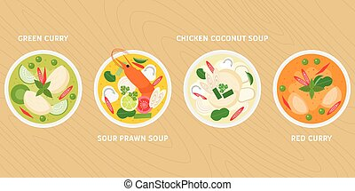 thai dish, green curry, hot and sour prawn soup, chicken in coconut milk soup, red curry, flat design vector