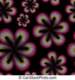 Seamless pattern with red tiare flower. Dots, doted pattern....