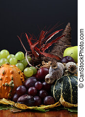 Autumn cornucopia - symbol of food and abundance