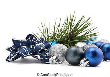 Blue and silver Christmas ornaments - Fancy bow with blue...