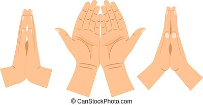 Religion praying hands isolated on white background. Folded...