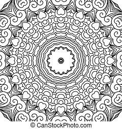 Hearts and swirls circular ornament background