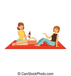 Pretty girls having picnic, two women characters sitting on a picnic plaid vector Illustration