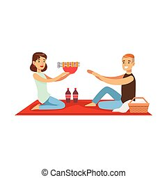 Happy couple having outdoor barbeque picnic, man and woman characters in love sitting on a picnic plaid vector Illustration