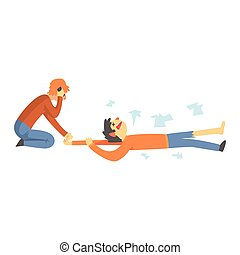 Dead man after a car accident, woman calling the emergency service cartoon characters vector Illustration