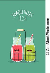 Smoothies - fruit smoothies funny character fresh mixer set