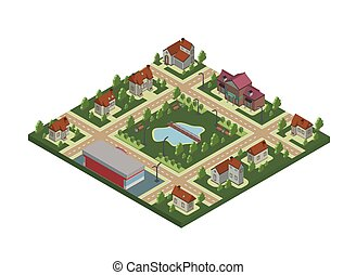 Isometric map of small town or cottage village. Private houses, trees and pond or lake. Vector illustration, isolated on white.
