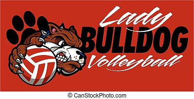 lady bulldog volleyball team design with mascot head for...