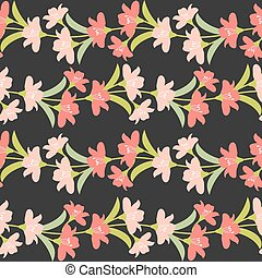 Vector Seamless Floral Border with Pastel Flowers. Pastel Flowers  Seamless Pattern.