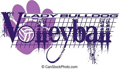 lady bulldog volleyball - distressed lady bulldog volleyball...