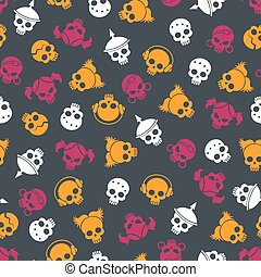 Bright seamless pattern with colorful sculls