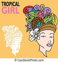 Tropical Girl with Fruit Hat - An image of a tropical girl...