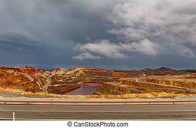 Rio Tinto mine and road on stormy day, wide angle - Wide...