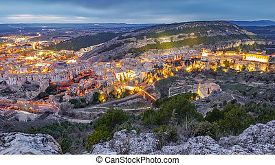 Top view of Cuenca at dusk, wide angle - Wide angle view at...