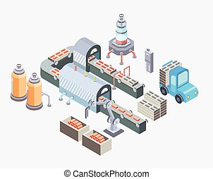 Automated production line. Factory floor with conveyor and various machines. Vector illustration in isometric projection, isolated on white.