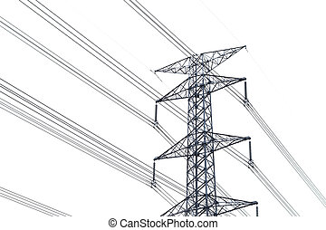 High voltage post or High-voltage tower isolated on white background. High voltage post isolated.Power energy and electricity infrastructure concept. Power energy and electricity infrastructure concept.