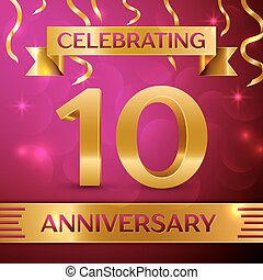 Ten Years Anniversary Celebration Design. Confetti and...