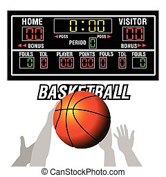 Isolated basketball scoreboard and a ball, Vector...