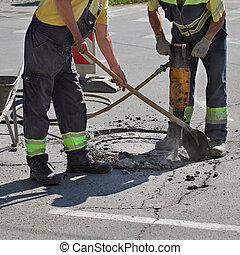 martillo neumático, trabajador, Demoler, asfalto