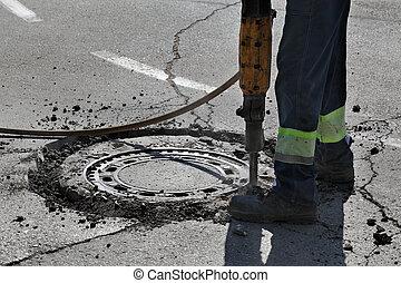 Utilizar, trabajador, Demoler, asfalto, martillo neumático