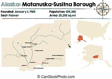 Alaska: Matanuska-Susitna Borough - Large and detailed map...