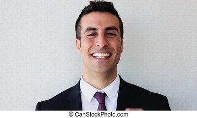 happy smiling businessman or man in suit