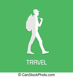 Trekking, hiking concept vector illustration, logo. Design...