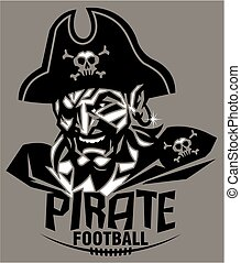 pirate football mascot team design for school, college or...