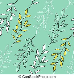 Pale green seamless pattern with branches