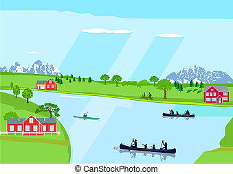 See Landschaft - Recreation in leisure time, canoeing with...