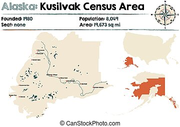 Alaska: Kusilvak Census Area - Large and detailed map of...