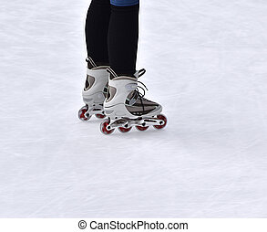 Person inline skating on ice