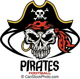 pirates football team design with mascot skull inside ball...