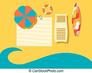 Beach, view from above. The sea coast with an umbrella, a coverlet, a chaise longue and a surfboard. Flat style. Place for the text. Vector illustration