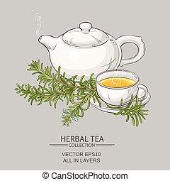 tè, rosmarino, illustrazione