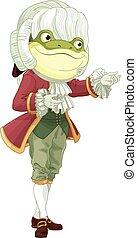Footman Frog - Illustration of bowing footman frog