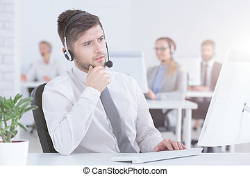 Busy customer service consultant