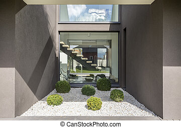 Modern niche with big window - Big window in cubic niche of...
